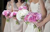 Bride and Bridesmaids with Bouquets — Stock Photo