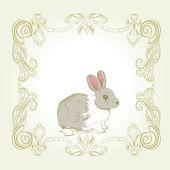 Sweet vintage bunny frame card — Stock Vector