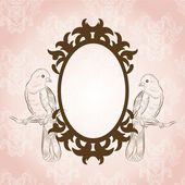 Beautiful vintage frame with lovely birds — Stok Vektör