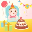 Cute baby celebrating birthday — Stock Vector