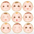 Baby with different expressions — Stock Vector