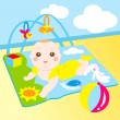 Stock Vector: Cute baby playing toy happily