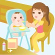 Mom feeding food to baby — Stock Vector