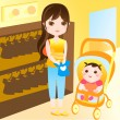 Mother shopping with baby — Stock Vector