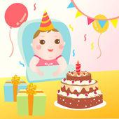 Celebrando cumpleaños del bebé lindo — Vector de stock