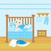 Baby blue room — Stock Vector