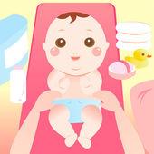Baby changing diaper — Stock Vector