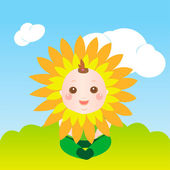 Cute sunflower baby — Stock Vector