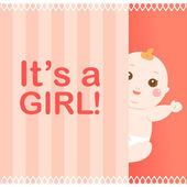 It's a girl baby card — Stock Vector