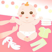 Cute baby changing clothes — Stock Vector