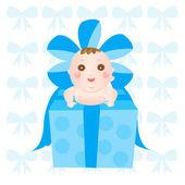 Bebé en la caja de regalo — Vector de stock