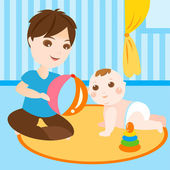 Dad playing with baby — Stock Vector