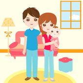 Glückliche Familie mit Neugeborenen — Stockvektor