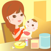 Mom feeding milk to baby — Stock Vector