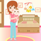 Baby and mom in the bedroom — Stock Vector