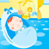 Cute newborn baby sleeping — Stock vektor