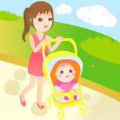 Baby and mom go for a walk — ストックベクタ