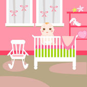 Baby pink room — Stock Vector