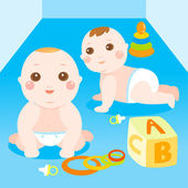 Two baby playing toys — Stock Vector