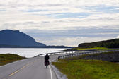 Biker on Atlantic Road in Norway — Stock Photo