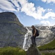 Sport girl in Norway maountains — Stock Photo