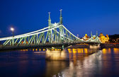 Night view ofSzabadsag hid, Budapest — Stock Photo