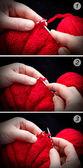 Lesson knitting — Stock Photo