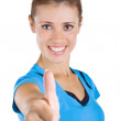 Beautiful girl showing a thumb up — Stock Photo