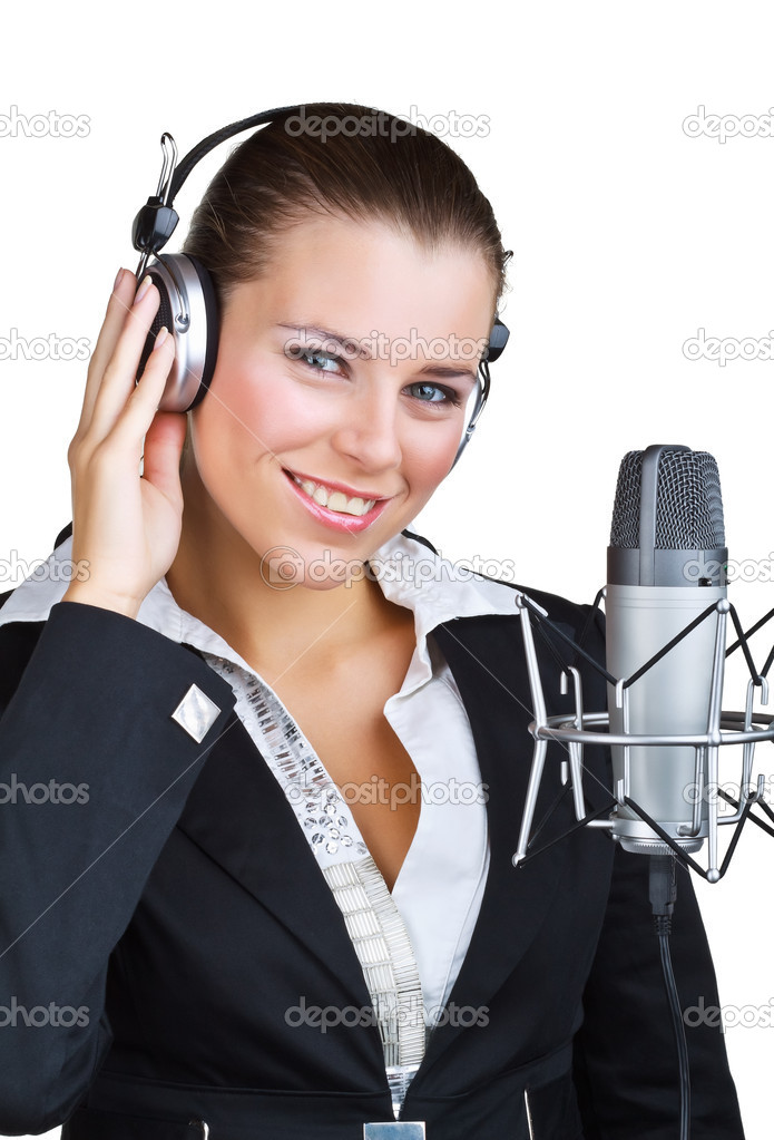 Smiling woman in front of a microphone headset, isolated on white background — Stock Photo #7184685