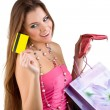 Smiling beautiful woman pulled from the purse Credit card — Stock Photo