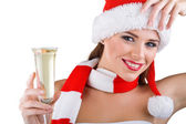 A beautiful woman dressed in Christmas holds a glass of champagne — Stock Photo