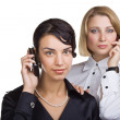 Foto Stock: Two business women talking on mobile phone