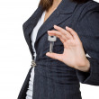 Business woman showing the key — Stock Photo