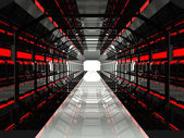 Dark red futuristic corridor — Stockfoto