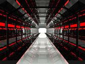 Donker rood futuristische corridor — Stockfoto