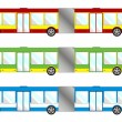 Stock Vector: Vehicle pack - long bus
