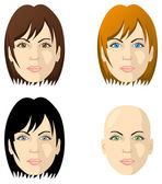 Women's faces, different color eyes and hair — Stock Vector