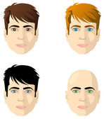 Men's faces, different color eyes and hair — Stock Vector