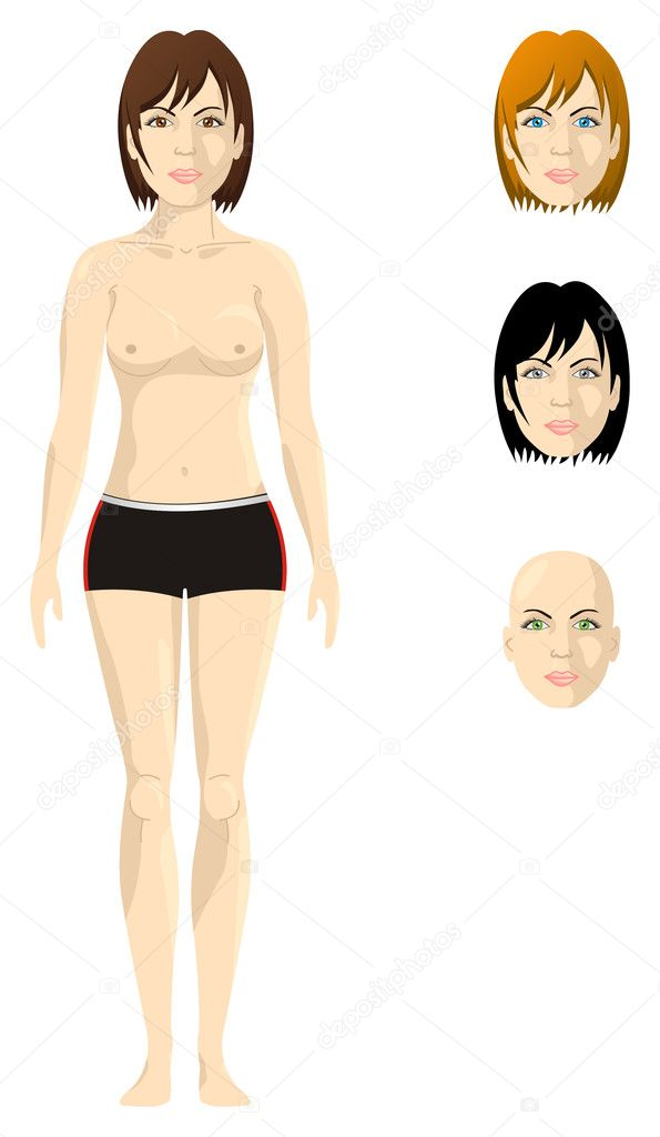 A half naked woman, proportional body, with different version of hair and ...