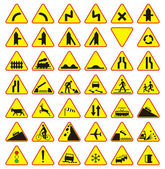 Road signs pack (warning signs), 42 pieces — Stock Vector