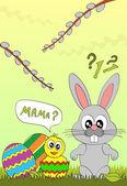 イースターのウサギと鶏のベクトル イラスト — ストックベクタ