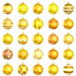 Christmas orange baubles big back 25 on white background — Foto de Stock