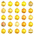Christmas orange baubles big back 25 on white background — Stok fotoğraf
