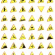 Road signs 3d rendering pack (warning signs) — Stock Photo
