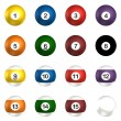 Stock Photo: Billard balls pack 3d rendering isolated on white