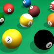 Stock Photo: Billard balls pack 3d rendering pool