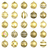 Christmas gold baubles big back 25 on white background — ストック写真