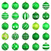 Noel yeşil baubles büyük 25 beyaz arka plan üzerinde geri — Stok fotoğraf