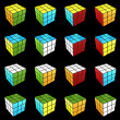 Rubik's cube completed on black background 3d render — Stock Photo