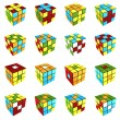 Rubik's cube different pattern on white background 3d render — Stock Photo
